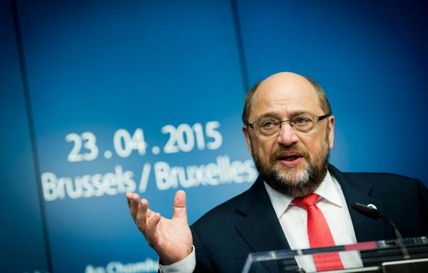 EP President Martin Schulz press conference at the special European Council on migratory pressure in the Mediterranean © European Union 2015