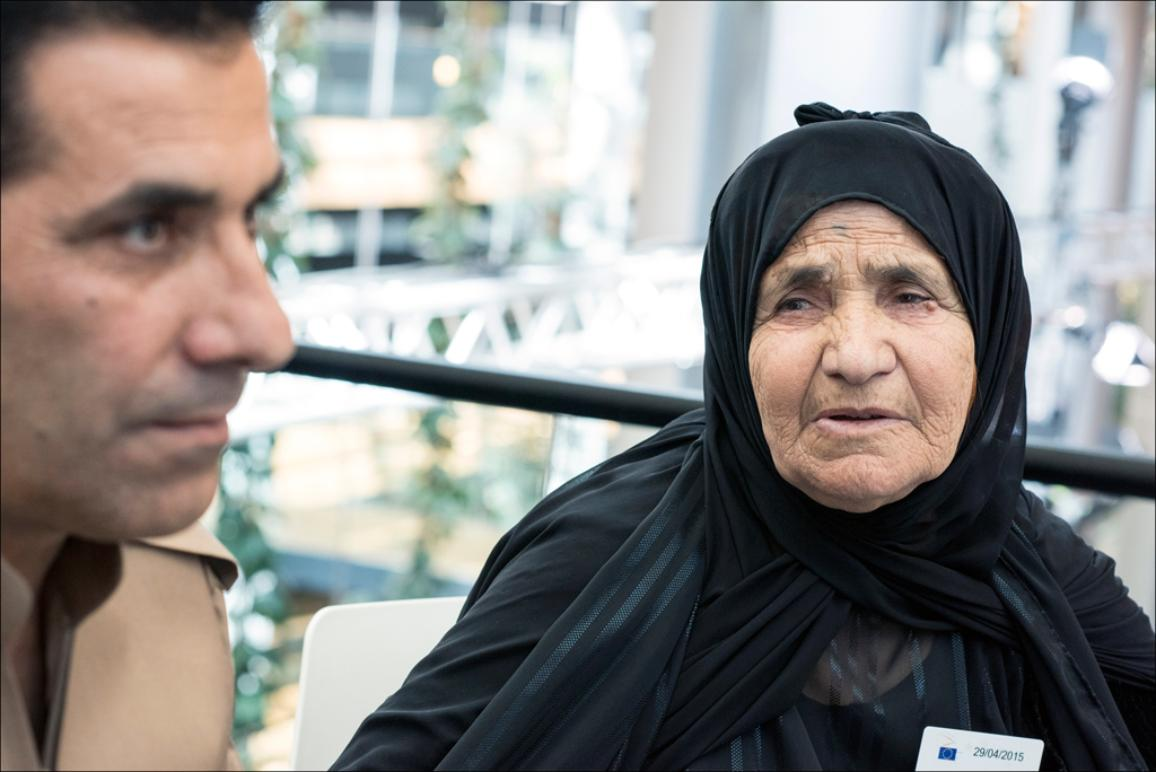 Aisha Taha Othman, an eighty-nine year old who lost three sons in the fight against IS.