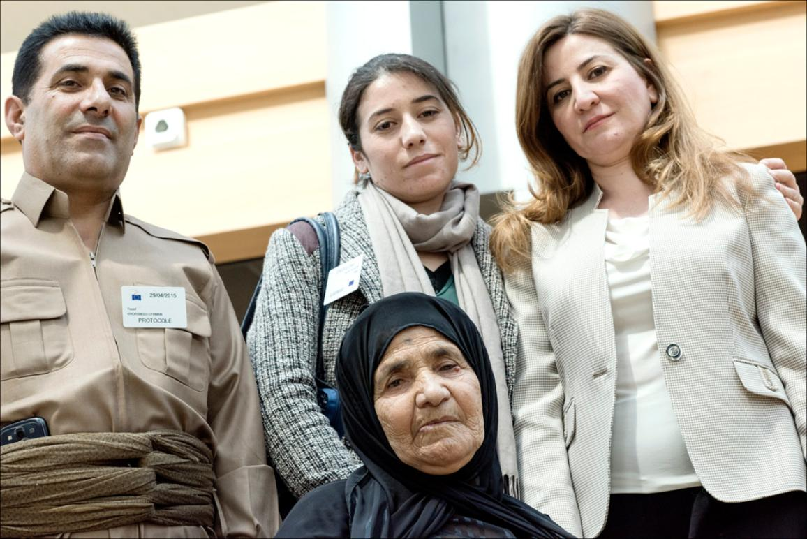 Iraqi MP Vian Dakhil and the delegation of Islamic State (IS) victims which met EP President Martin Schulz