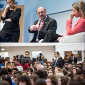 03 - European Parliament President Martin Schulz, HR/VP Federica Mogherini, and some 1 000 citizens comes together to discuss how the EU should look in the future, how it can face the challenges of sustainability and what its role in the international arena should be. The debate moderated by Monica Maggioni, Director of RaiNews24. Citizens debates in person or submit comments using the Twitter hashtag #EUdialogues.