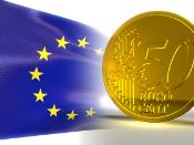 European flag and Euro coin