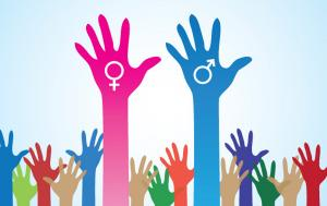 Hands with male and female sign