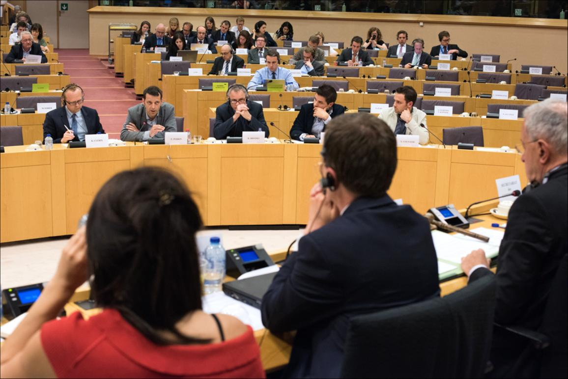 TAXE hearing: discussion with the International Consortium of Investigative Journalists. In the photo journalist Edouard Perrin takes the floor