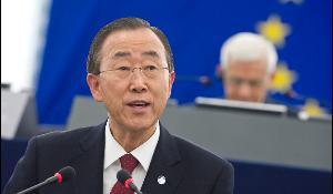 The UN Secretary General, Ban Ki-moon, addressed the European Parliament