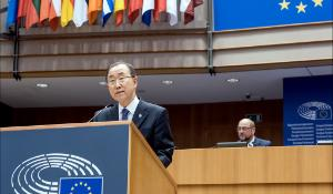 UN Secretary General Ban Ki-moon addresses the European Parliament on 27 May 2015