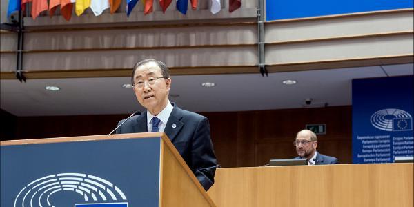 YK:n pääsihteeri Ban Ki-moon puhui Euroopan parlamentissa 27. toukokuuta.