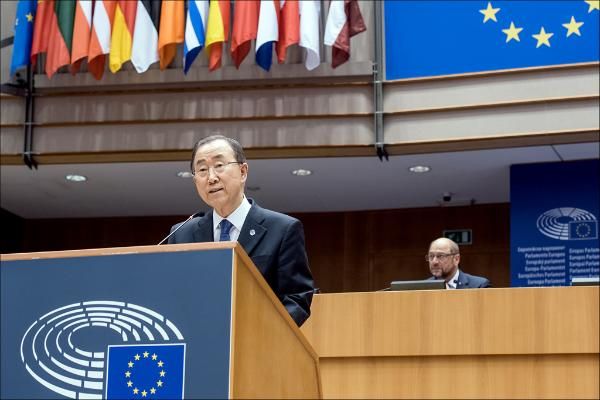 UN Secretary General Ban Ki-moon addresses the European Parliament on 27 May 2015