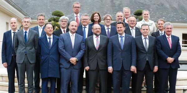 De conferentie van voorzitters samen met vertegenwoordigers van de regering van Luxemburg ©SIP/Julien Warnand