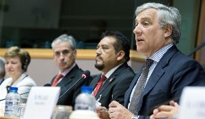 European Parliament Vice President Antonio Tajani during the opening of the 8th plenary session of the Euro-Latin American Parliamentary Assembly (EuroLat)