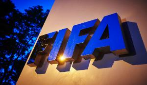 The FIFA logo is pictured at the FIFA headquarters in Zurich