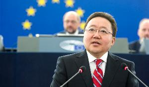 The President of Mongolia, Tsakhiagiin Elbegdorj, delivers a formal address to the House on Tuesday 09/06/2015. This is his first visit to the European Parliament since he was elected president in May 2009.