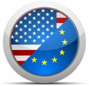 SEDE - flags of European Union and the United States of America