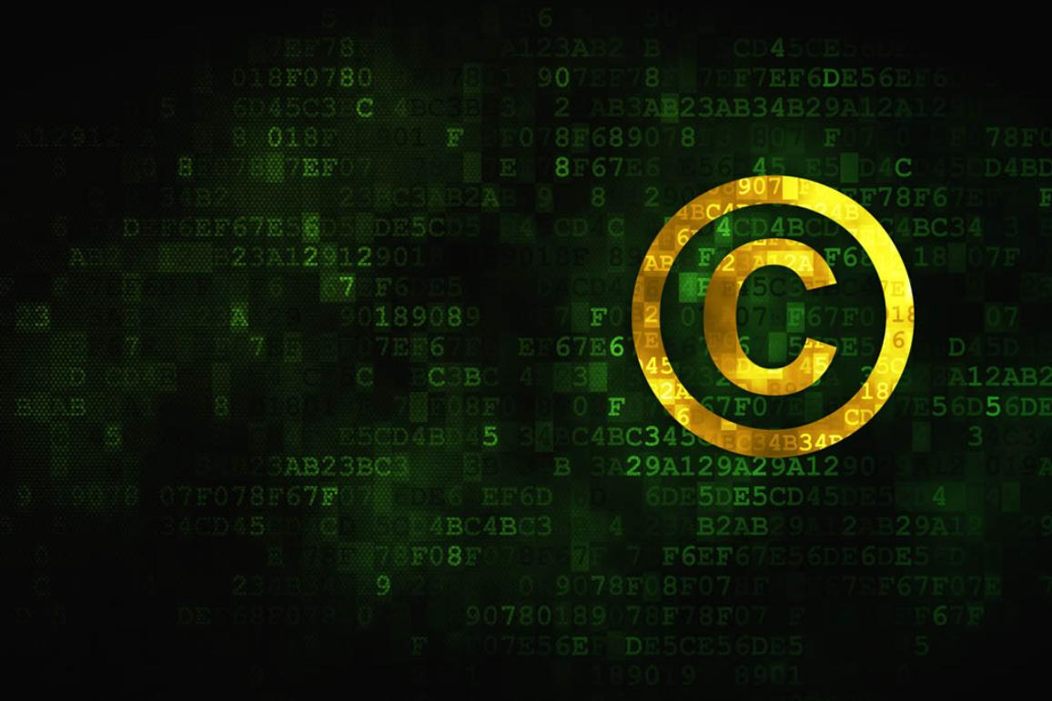 Pixelated Copyright icon on digital background ©BELGA_EASYPHOTOSTOCK