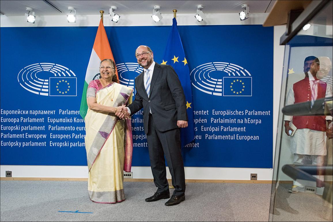 European Parliament President Martin Schulz and Sumitra Mahajan, speaker of the Lok Sabha, the Indian Parliament