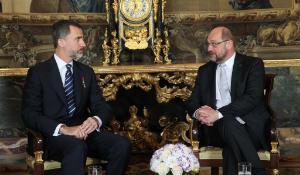 El Rey Felipe VI y Martin Schulz, Presidente del Parlamento Europeo ©Casa de S.M. el Rey.