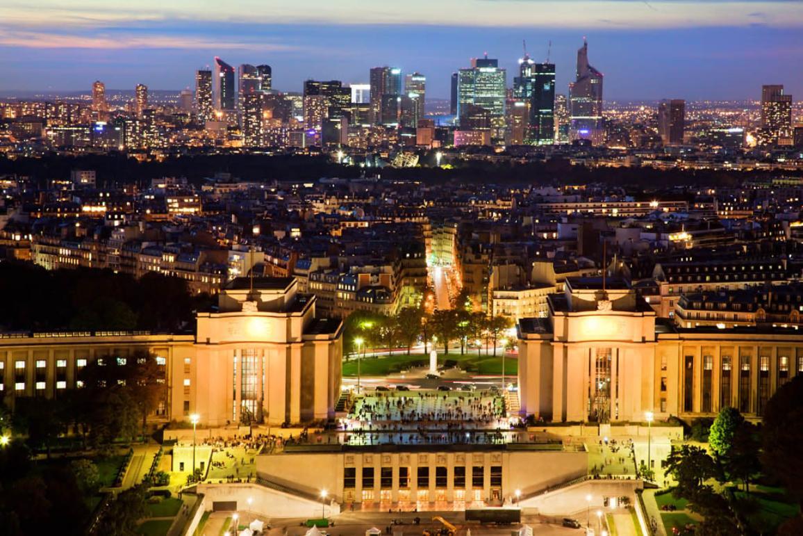 Paris panorama by night. View on La Defense from Eiffel Tower. ©BELGA_EASYFOTOSTOCK