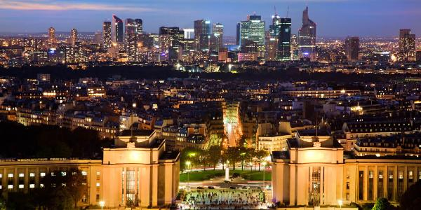 Paris panorama by night. View on La Defense from Eiffel Tower. ©BELGA_EASYFOTOSTOCK