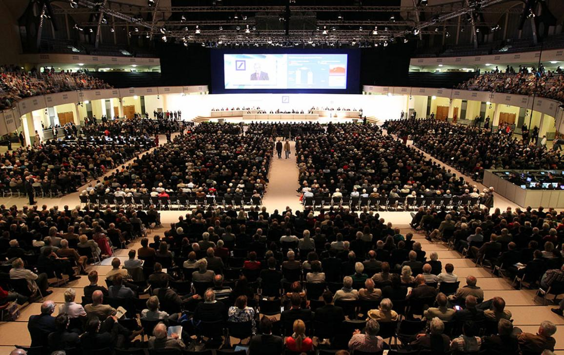 A general view of Deutsche Bank's annual shareholder meeting in Frankfurt/Main, Germany, on May 21, 2015