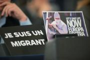 Solidarity signs were displayed during the debate on the immigration and asylum debate in a Strasbourg plenary session