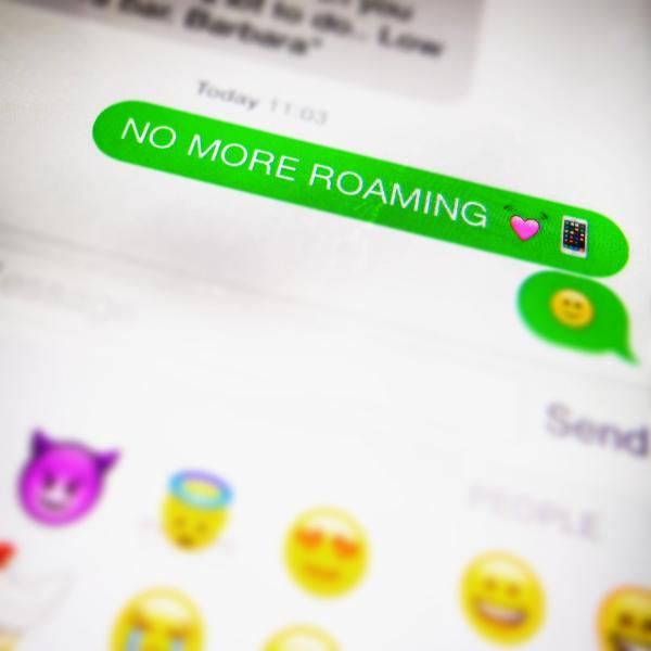 "An sms announcing the ""end of roaming charges"""