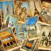 Collage of postcards of famous European tourism sights