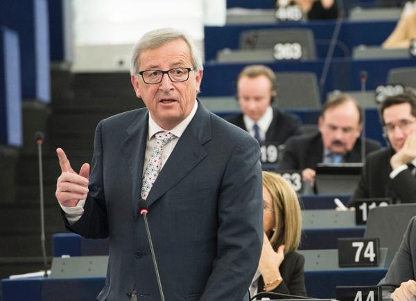 EC President Jean Claude Juncker is pictured in the EP plenary chamber during a debate