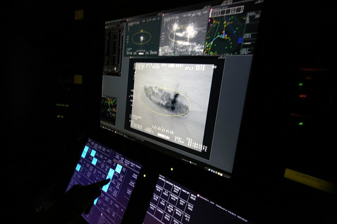 Infrared image of vessel on surveillance eqquipment © European Union 2015 - Frontex