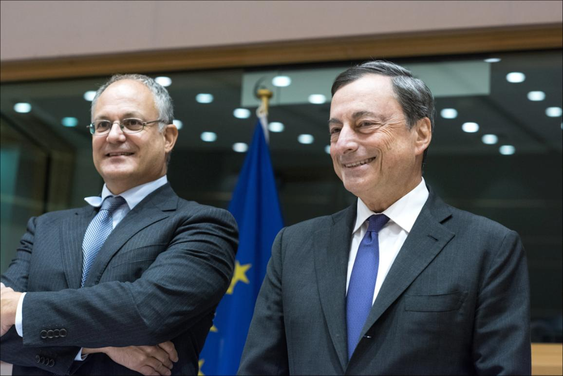 EP Economics chair Roberto Gualtieri and ECB President Draghi pictured before the start of the Monetary Dialogue