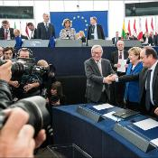 French President François Hollande and German Chancellor Angela Merkel made a historic joint address in the European Parliament in Strasbourg on Wednesday 07th of October 2015