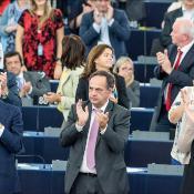 Președintele francez François Hollande și cancelarul german Angela Merkel au ținut un discurs comun în Parlamentul European de la Strasbourg, miercuri, 07 octombrie 2015.
