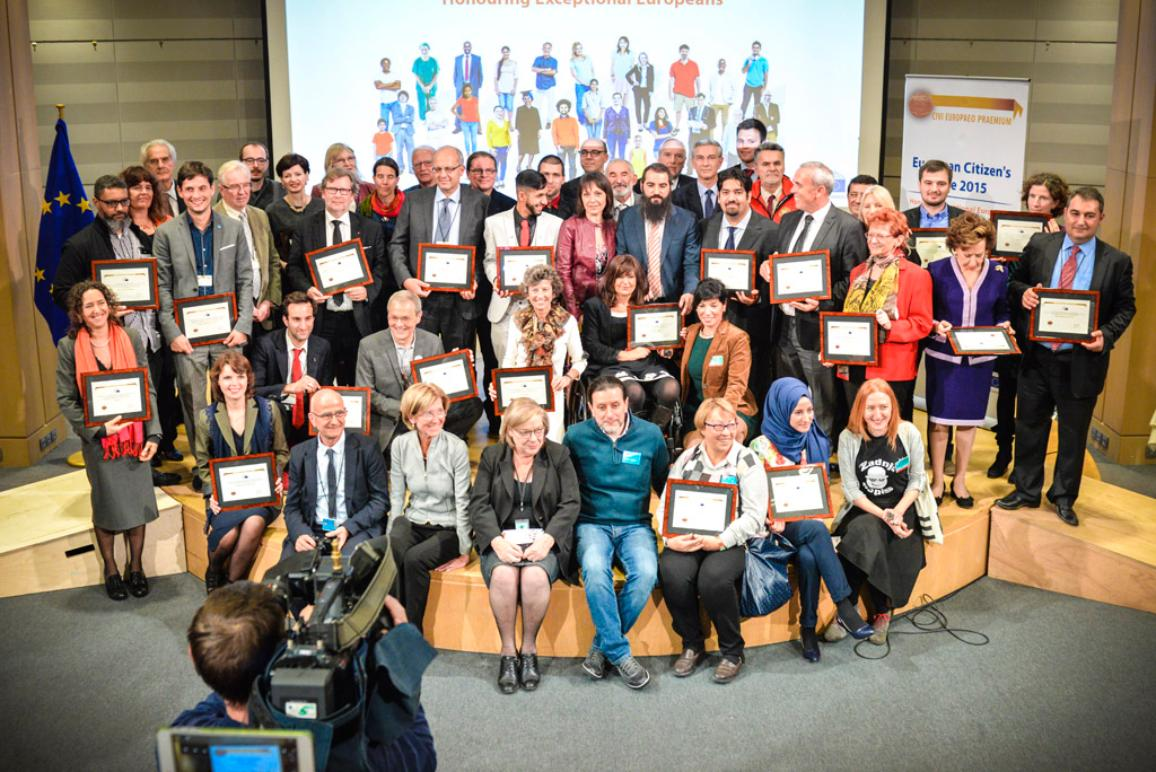 Family photo of the European Citizen's Prize 2015 during the ceremony in Brussels