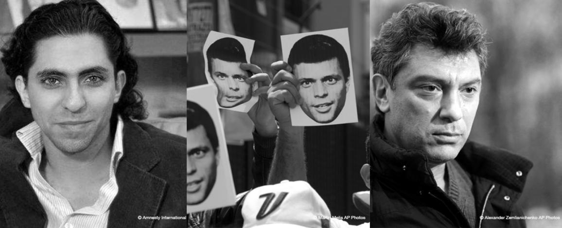 Finaliștii Premiului Saharov 2015 sunt: Raif Badawi, Unidad Venezuela și Boris Nemtsov © Courtesy of Amnesty International & © AP images/European Union - EP.