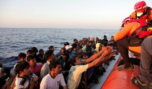 Frontex rescue operation in action in the Mediterranean sea.