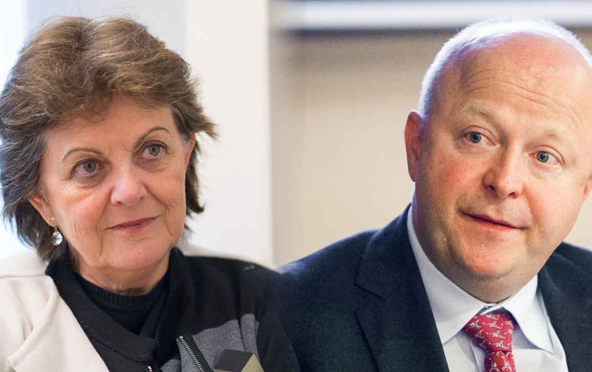 La eurodiputada socialista portuguesa Elisa Ferreira y el eurodiputado liberal alemán Michael Theurer.