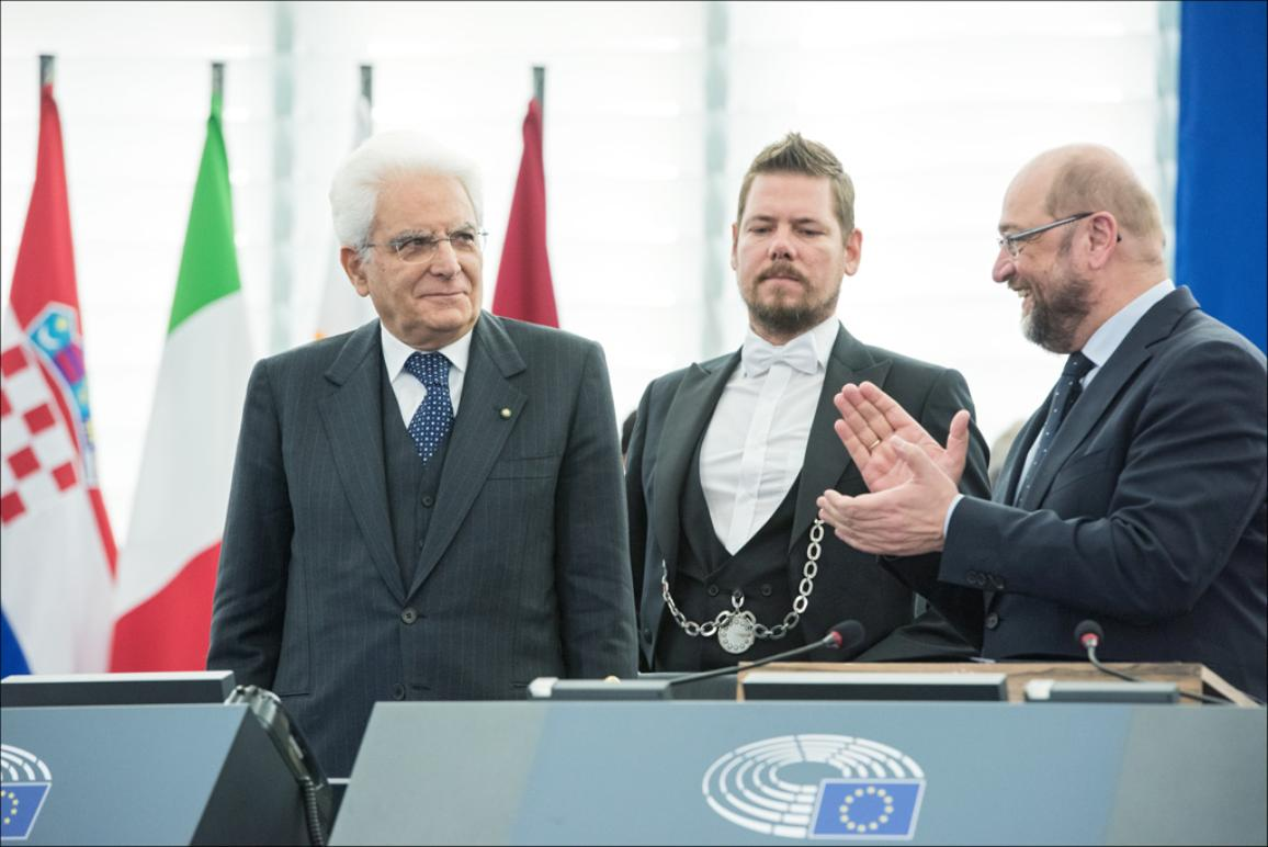 President of the Italian Republic Sergio Mattarrella delivers a formal address to the European Parliament on Wednesday 25 of November 2015