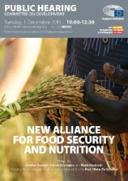 Poster for Public Hearing of the Committee on Development on 1 December: New Alliance for Food Security and Nutrition. Image of African holding ear bundle