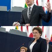 Ianuarie 2015 -  Matteo Renzi și Laimdota Straujuma în Parlament.