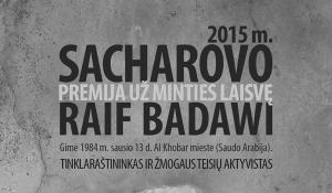 Šių metų Sacharovo premija už minties laisvę skirta Saudo Arabijos tinklaraštininkui ir žmogaus teisių aktyvistui Raifui Badaviui.
