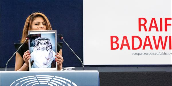 """Heart"" to support demands  for the release of jailed blogger Raif Badawi, who was awarded Parliament's #SakharovPrize for Freedom of Thought today"