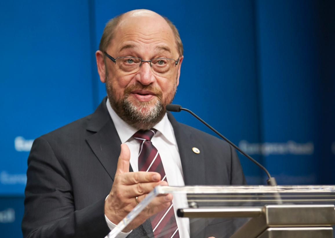 European Parliament President Martin Schulz press conference at the European Summit on 17/12/2015