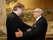 AFET Chairman Elmar Brok greets the President of the Republic of Tunisia, Mr Béji Caïd Essebsi