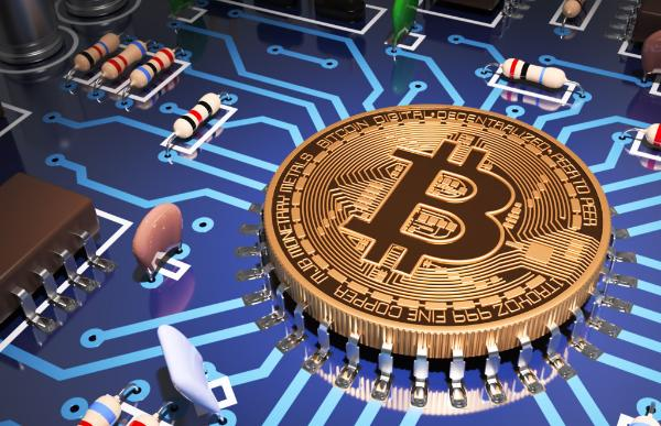 Concept Of Bitcoin Like A Computer Processor On Motherboard ©AP Images/ European Union-EP