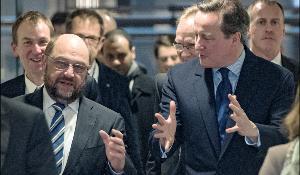 Μάρτιν Σουλτς και Ντέιβιντ Κάμερον - Ευρωπαϊκό Κοινοβούλιο 29 Ιανουαρίου 2016.