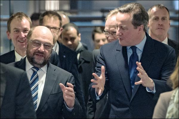 European Parliament President Martin Schulz and British Prime Minister David Cameron are pictured during their meeting at the European Parliament on Friday 29 of January 2016