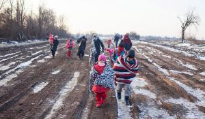 Serbia. Refugees experiencing freezing temperatures on their route through Balkans