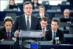 European Central Bank President Mario Draghi in Plenary for a debate with MEPs on the bank's annual report for 2014.