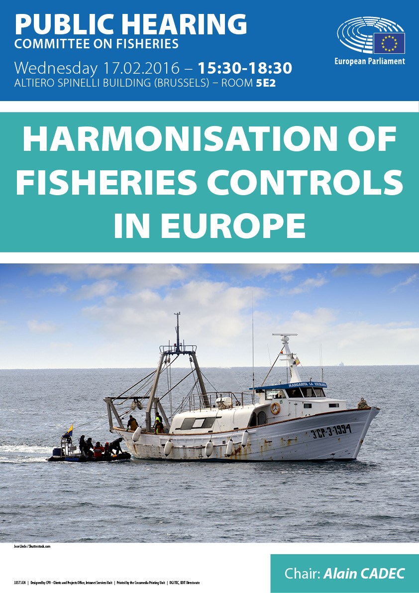 Poster in English for public hearing on harmonisation of fisheries controls in Europe