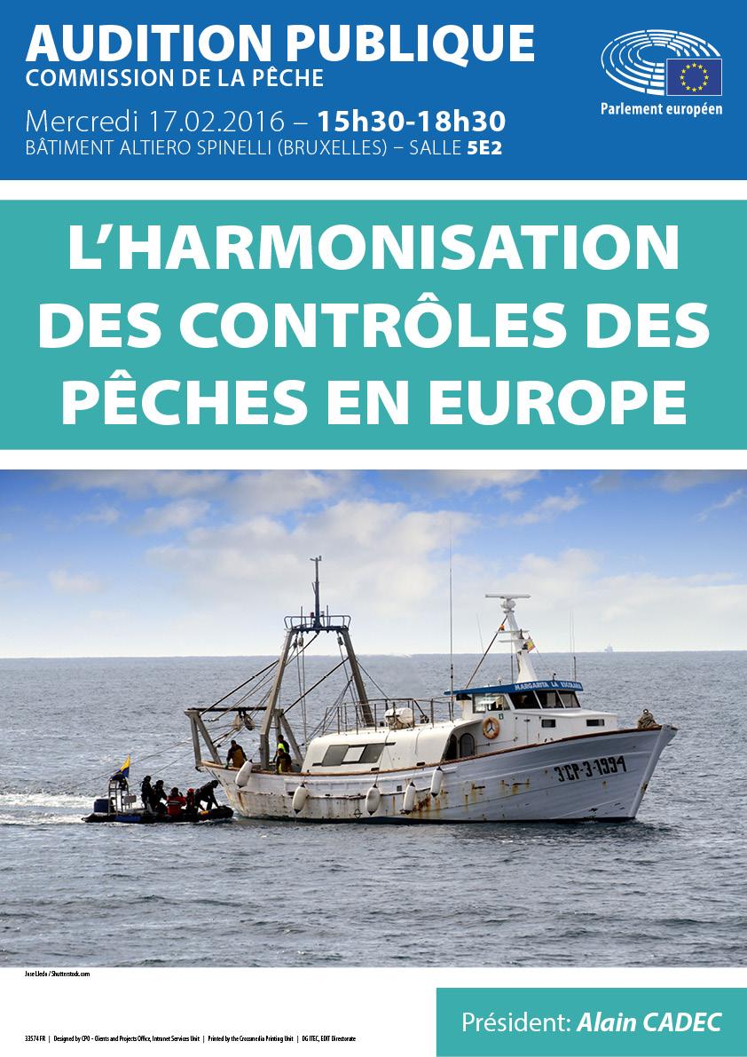 """Affiche de l'audition publique """"L'harmonisation des contrôles des pêches en Europe"""""""