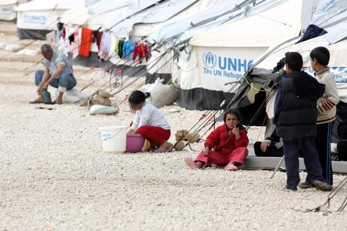 Tabără de refugiați sirieni.