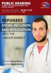 "Image of a poster of the public hearing on ""social inclusion and integration of refugees into the labour market"". Image of a man dressed as a doctor."